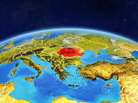 Romania on planet Earth with country borders and highly detailed planet surface and clouds. 3D illustration.