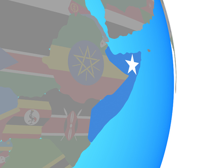 Somalia with national flag on simple political globe. 3D illustration.