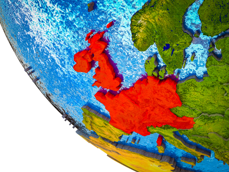 Western Europe on model of Earth with country borders and blue oceans with waves. 3D illustration.