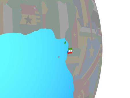 Equatorial Guinea with national flag on simple political globe. 3D illustration. 版權商用圖片