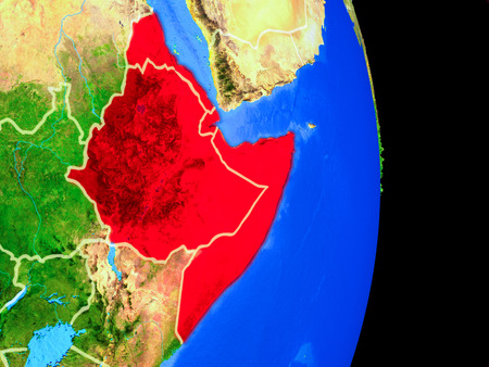Horn of Africa on realistic model of planet Earth with country borders and very detailed planet surface. 3D illustration. Stock Photo