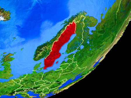 Sweden on planet Earth with country borders and highly detailed planet surface. 3D illustration.