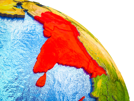 South Asia Highlighted on 3D Earth model with water and visible country borders. 3D illustration.