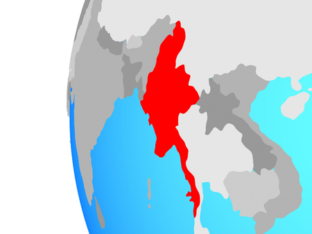 Myanmar on blue political globe. 3D illustration.