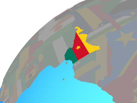 Cameroon with embedded national flag on globe. 3D illustration.