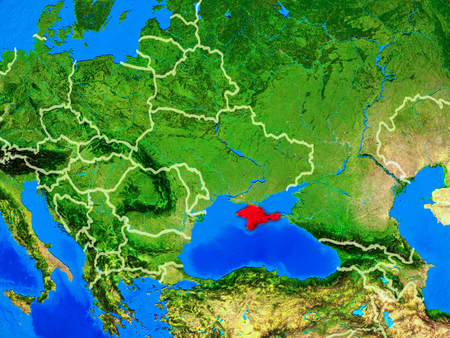 Crimea from space on model of planet Earth with country borders and very detailed planet surface. 3D illustration.