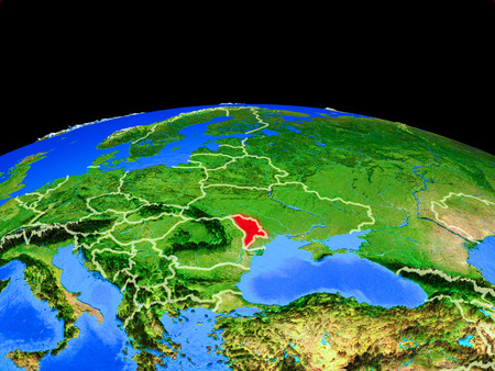 Moldova on model of planet Earth with country borders and very detailed planet surface. 3D illustration.