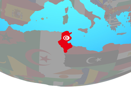 Tunisia with national flag on simple political globe. 3D illustration. 스톡 콘텐츠