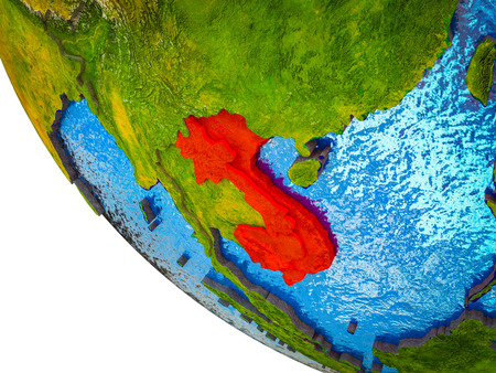 Indochina on model of Earth with country borders and blue oceans with waves. 3D illustration.