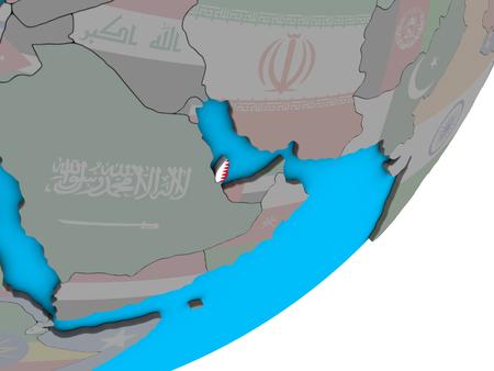 Qatar with national flag on blue political 3D globe. 3D illustration.