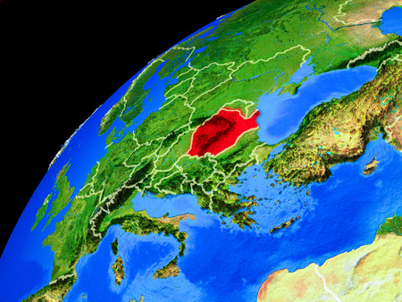 Romania from space. Planet Earth with country borders and extremely high detail of planet surface. 3D illustration. Imagens