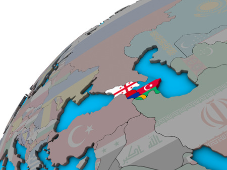 Caucasus region with national flags on 3D globe. 3D illustration.