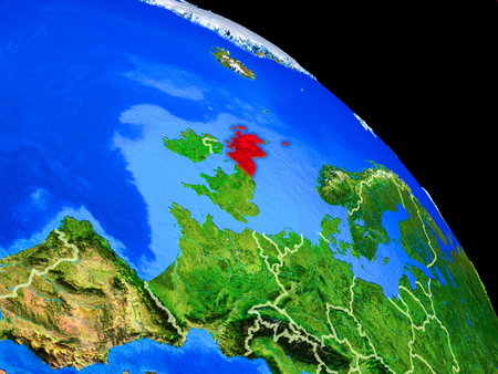 Scotland on planet Earth from space with country borders. Very fine detail of planet surface. 3D illustration.