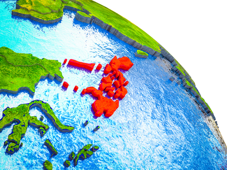 Philippines Highlighted on 3D Earth model with water and visible country borders. 3D illustration. Фото со стока