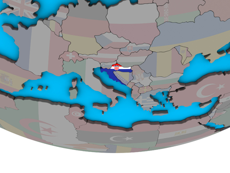 Croatia with embedded national flag on simple political 3D globe. 3D illustration.