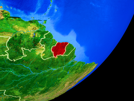 Suriname on planet Earth with country borders and highly detailed planet surface. 3D illustration.