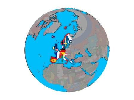 Western Europe with embedded national flags on blue political 3D globe. 3D illustration isolated on white background.