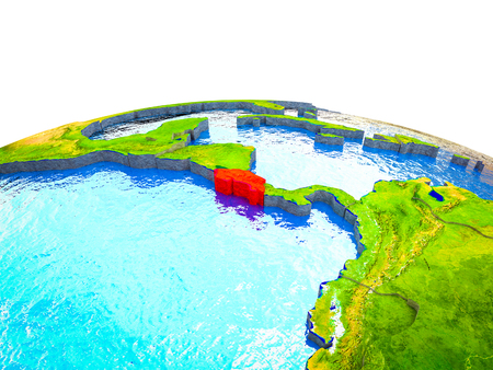 Costa Rica on 3D Earth with visible countries and blue oceans with waves. 3D illustration.