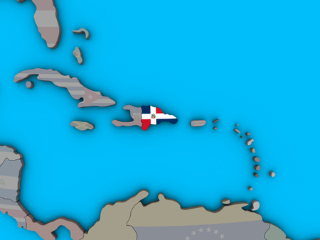 Dominican Republic with embedded national flag on blue political 3D globe. 3D illustration.