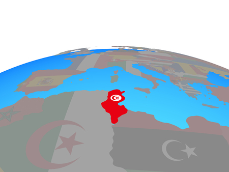 Tunisia with national flag on political globe. 3D illustration. 스톡 콘텐츠
