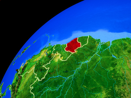 Suriname from space. Planet Earth with country borders and extremely high detail of planet surface. 3D illustration.