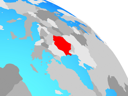 Romania on simple blue political globe. 3D illustration.
