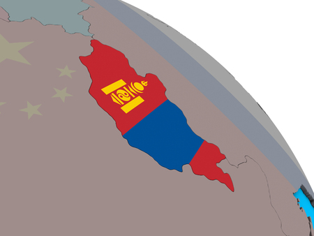 Mongolia with embedded national flag on simple blue political 3D globe. 3D illustration.