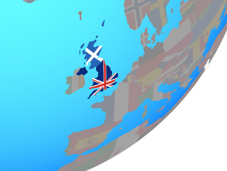 Scotland with embedded national flag on blue political globe. 3D illustration.