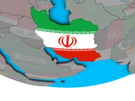 Iran with embedded national flag on simple political 3D globe. 3D illustration.