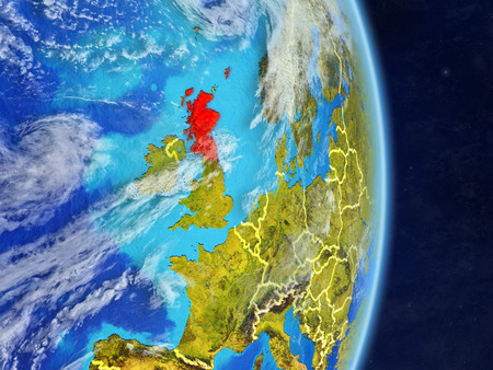 Scotland on planet planet Earth with country borders. Extremely detailed planet surface and clouds. 3D illustration.