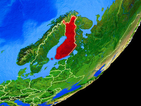 Finland on planet Earth with country borders and highly detailed planet surface. 3D illustration. Stock Photo