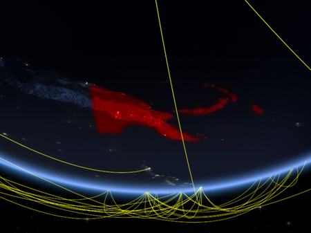 Papua New Guinea on model of planet Earth at night with network representing travel and communication. 3D illustration.