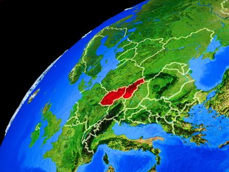 Former Czechoslovakia from space. Planet Earth with country borders and extremely high detail of planet surface. 3D illustration. 写真素材