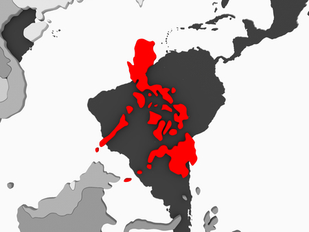 Philippines in red on grey political map with transparent oceans. 3D illustration. Фото со стока