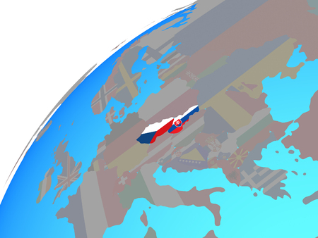 Former Czechoslovakia with embedded national flags on globe. 3D illustration. 写真素材 - 113365391