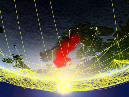 Sweden on model of planet Earth in sunrise with network representing travel and communication. 3D illustration.