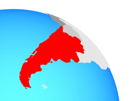 Southern Cone on simple blue political globe. 3D illustration. Imagens