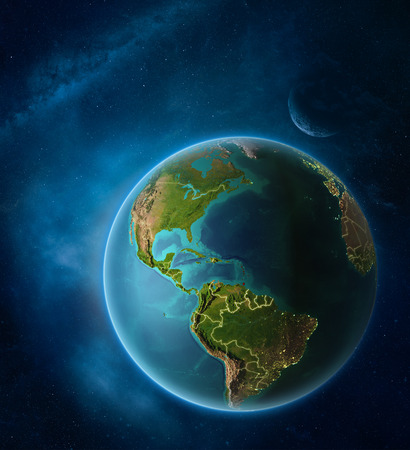 Planet Earth with highlighted Caribbean in space with Moon and Milky Way. Visible city lights and country borders. 3D illustration.