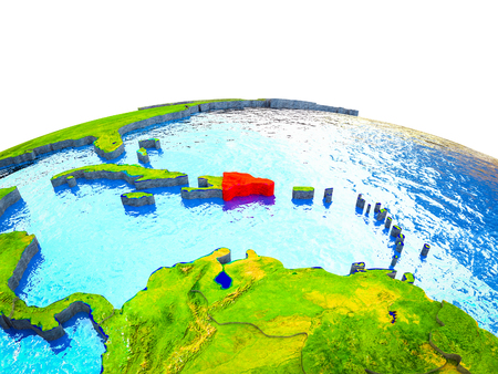 Dominican Republic on 3D Earth with visible countries and blue oceans with waves. 3D illustration. Stockfoto