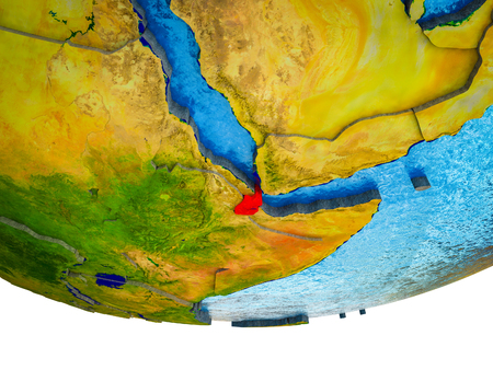 Djibouti on 3D Earth with divided countries and watery oceans. 3D illustration.