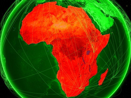 Africa on green Earth in space with networks representing air traffic or telecommunications. 3D illustration.