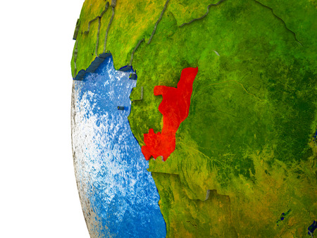 Congo highlighted on 3D Earth with visible countries and watery oceans. 3D illustration. Standard-Bild - 113365567