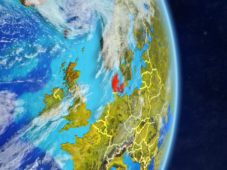 Denmark on planet planet Earth with country borders. Extremely detailed planet surface and clouds. 3D illustration.