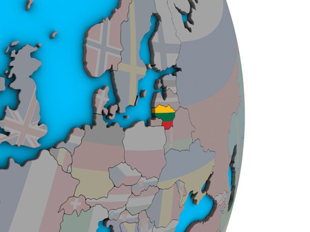 Lithuania with embedded national flag on simple political 3D globe. 3D illustration.