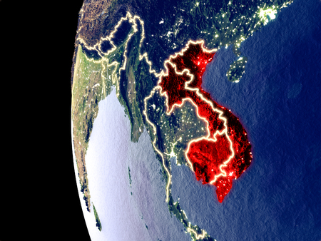 Night view of Indochina from space with visible city lights. Very detailed plastic planet surface. 3D illustration.