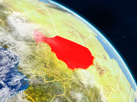 Niger from space on realistic model of planet Earth with country borders and detailed planet surface and clouds. 3D illustration.