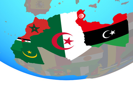 Maghreb region with national flags on simple political globe. 3D illustration.