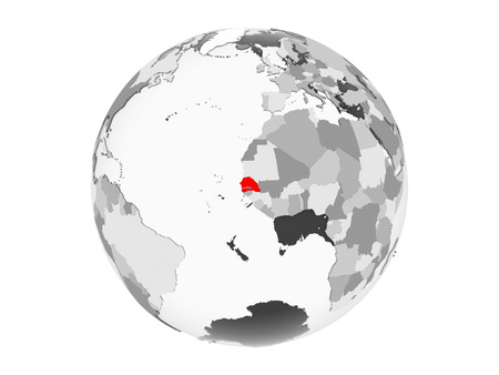 Senegal highlighted in red on grey political globe with transparent oceans. 3D illustration isolated on white background. Stok Fotoğraf