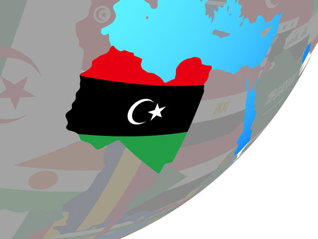 Libya with embedded national flag on blue political globe. 3D illustration. Stockfoto