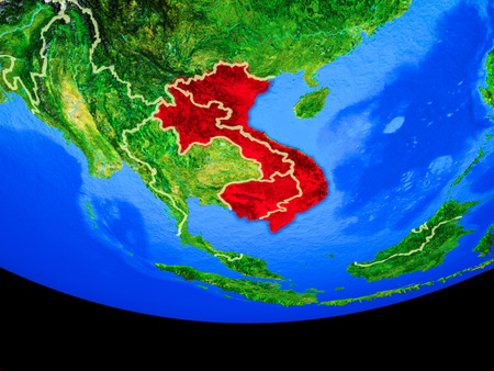 Indochina from space on model of planet Earth with country borders. 3D illustration.